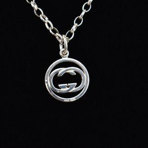 "GUCCI: Sterling Silver, ""GG"" Logo Necklace (ou)"